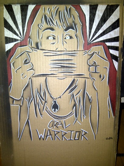 """[IMAGE:         """"Warrior Mask Re-imagined"""" or """"Languages are spoken         even when there are no words."""" April 2012. Erin Marie Konsmo. ]"""