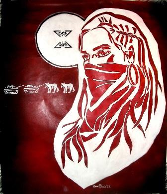 "[""Indigenous Womyn Warrior"". Stencil series, Feb. 2012.         Erin Marie Konsmo. ]"