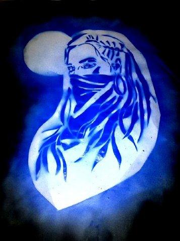 Warrior Womyn,               Masked, Stencil series. February 2012. Erin Marie               Konsmo.]